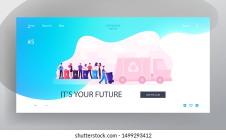 City Recycle Service Website Landing Page. People Throw Trash Bags to Recycling Containers for Litter Separation. Garbage Man Loading Wastes to Truck Web Page Banner. Cartoon Flat Vector Illustration