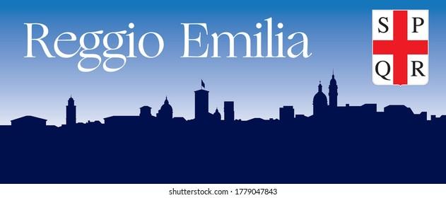 City of Reggio Emilia, Italy, silhouette with skyline, vector illustration