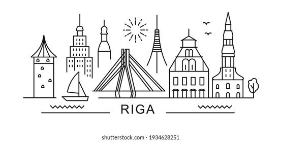 city of Riga in outline style on white. Landmarks sign with inscription.