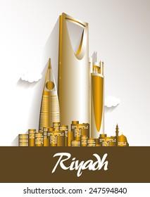 City of Riyadh Saudi Arabia Famous Buildings. Editable Vector Illustration