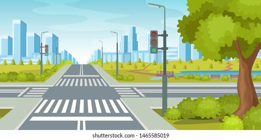 City road with crossroads traffic lights. Urban landscape with empty urban street traffic road, sidewalk, crosswalk, business centers building, trees. City highway vector illustration