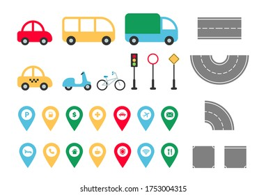 City road elements set. Town map constructor with flat transport car, bus, truck, taxi, bike, bicycle, road signs, map pointers. Vector illustration for creating infographics, web, game, mobile app.