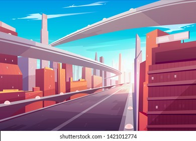 City road, empty streetscape freeway, speed two-lane highway, overpass or bridge in modern megapolis. Transport network infrastructure with urban skyscrapers in day time. Cartoon vector illustration