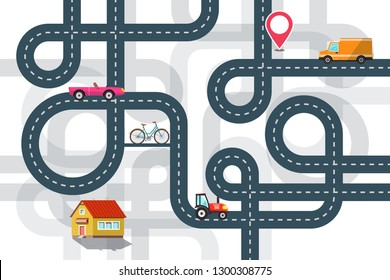 City Road Map Plan with Cars and Pin Vector Flat Design Illustration