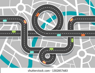City Road Map with Streets. Vector Highway on Town Aerial View.