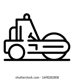 City road roller icon. Outline city road roller vector icon for web design isolated on white background