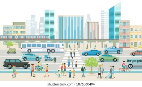 City with road traffic, skyscrapers, apartment buildings and pedestrians on the sidewalk, illustration
