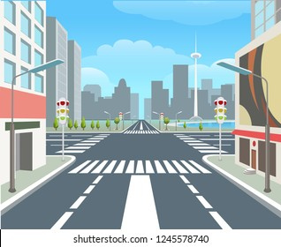 City road. Traffic road urban street, carsroad junctions, business buildings, crossing roads, city highway, vector illustration