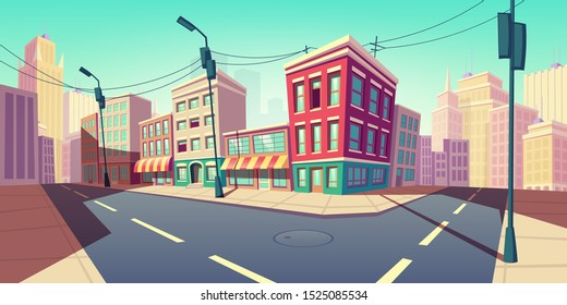City road turn, empty street with transport highway with marking, sewer manhole, lamps and buildings. Urban architecture, infrastructure megapolis exterior with skyscrapers Cartoon vector illustration