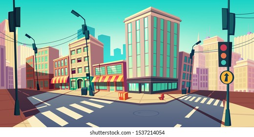 City road turn, empty street with transport highway with marking, arrow sign, sewer manhole, lamps and buildings. Urban architecture, infrastructure megapolis exterior Cartoon vector illustration