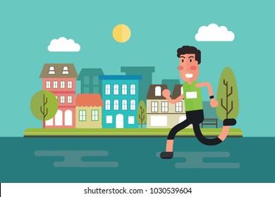 City run - fitness workout running man with urban city street Flat design