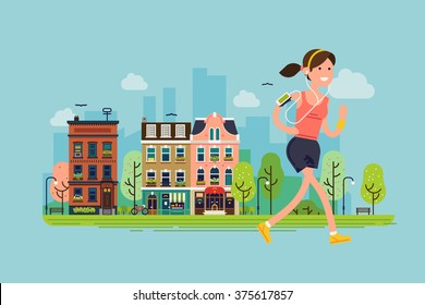 City run. Lovely vector flat design on fitness workout running woman with urban city street background | Sport friendly smiling female character running with earphones on