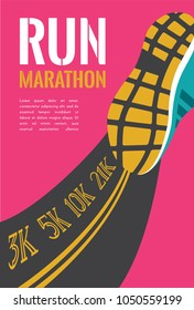 city running marathon. athlete runner feet running on road closeup. illustration vector