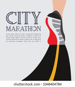 city running marathon poster template. athlete runner feet running on road closeup. illustration vector