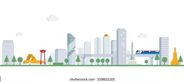 city scape of Bangkok Thailand  in 2D minimal style
