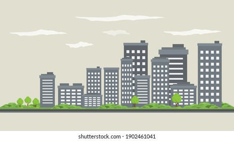 city scape daytime or city skyline or city horizon day time flat style. city scape with sky scraper building grey color  landscape vector illustration.