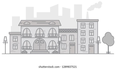 A city scape with four buildings, trees and a factory.