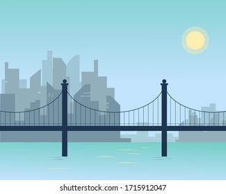 City scape with modern bridge. Vector background illustration.
