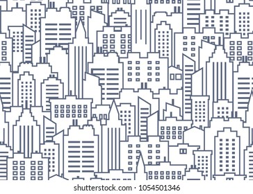 City scape seamless pattern. Thin line City background. Downtown landscape with high skyscrapers. Panorama architecture City landscape wallpaper. Goverment buildings outline illustration. Urban life