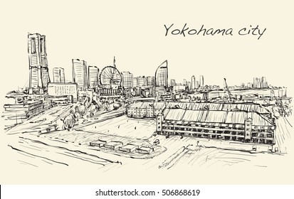 city scape skyline of Yokohama in Japan free hand drawing, vector