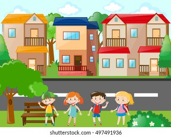 City scene with houses and kids illustration