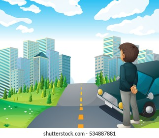 City scene with man on the road illustration