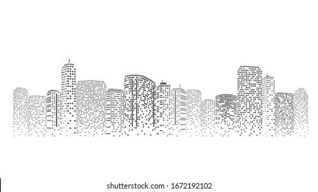 City scene on night time. Urban landscape. City skyline vector illustration.