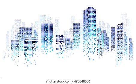 City scene on night time, cityscape blue pattern on white background