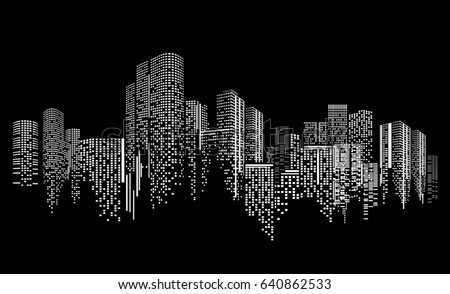 city scene on night time city stock vector royalty free