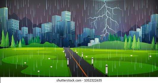 City scene on thunderstorm night illustration