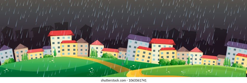 City scene with rain in dark sky illustration