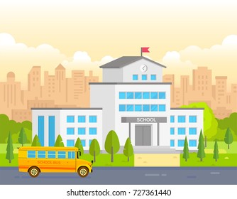 City school building with yellow bus - modern vector illustration. Urban background. Nice park around. Concept of education and learning. Orange sunset or sunrise sky