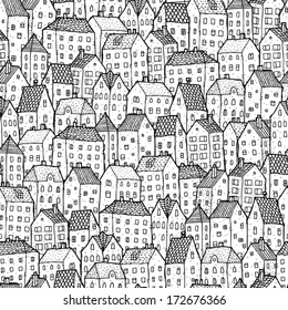 City seamless pattern in black and white is repetitive texture with hand drawn houses. Illustration is in eps8 vector mode.