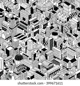 City Seamless Pattern is isometric doodle drawing of different building's types. Illustration is in eps8 vector mode, pattern is repetitive.