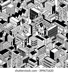 City Seamless Pattern (small) is isometric doodle drawing of different building's types. Illustration is in eps8 vector mode, pattern is repetitive.