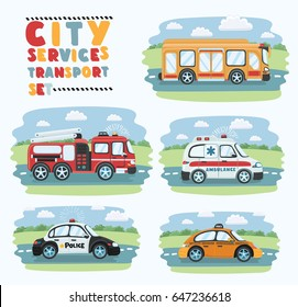 City service and emergence isolated set. Ambulance car, school bus, police car, fire truck and taxi cartoon vector illustration. Service auto vehicle, urban social car driving on the road