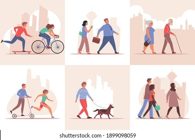 City set of flat compositions with cityscape silhouette backgrounds and walking people characters of different age vector illustration