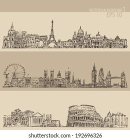 city set (London, Paris, Rome) vintage engraved illustration, hand drawn