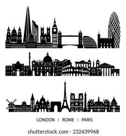 city set (London, Paris, Rome). Vector illustration.