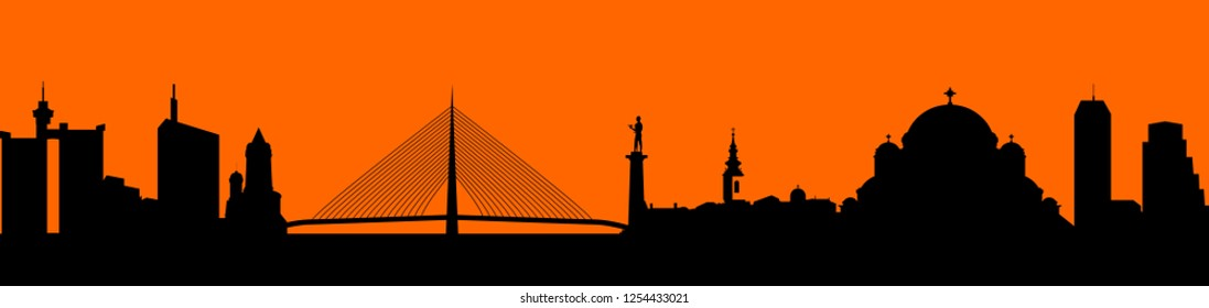 City shape - Illustration,  Belgrade, Vector city skyline silhouette illustration,  Town in black background,   City of Belgrade, Serbia