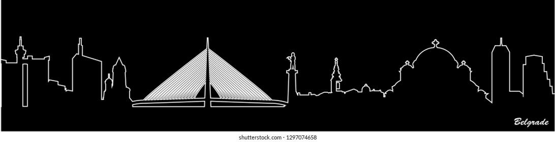 City shape - Illustration,  Town in black background,   City of Belgrade, Serbia