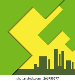 city silhouette and abstract green yellow sky