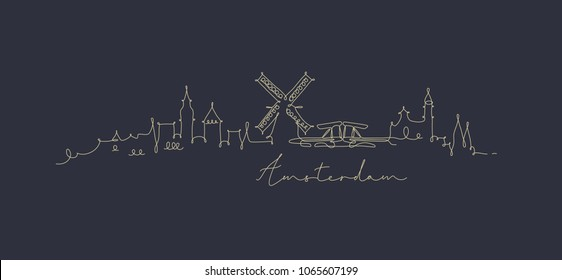 City silhouette amsterdam in pen line style drawing with beige on dark blue background