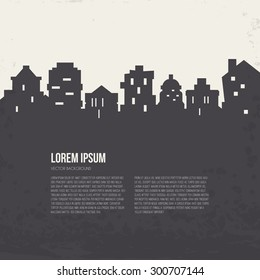 City silhouette architectural illustration with place for your text. Line style vector design. Modern template with skyscrapers.