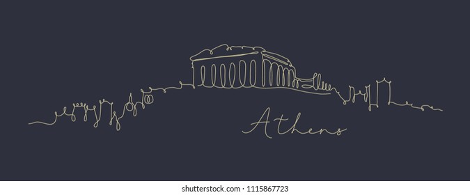 City silhouette athens in pen line style drawing with beige lines on dark blue background
