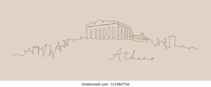 City silhouette athens in pen line style drawing with brown lines on beige background