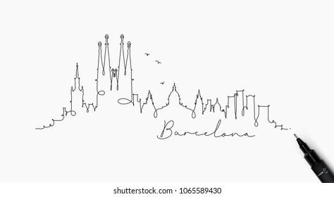 City silhouette barcelona in pen line style drawing with lines on white background