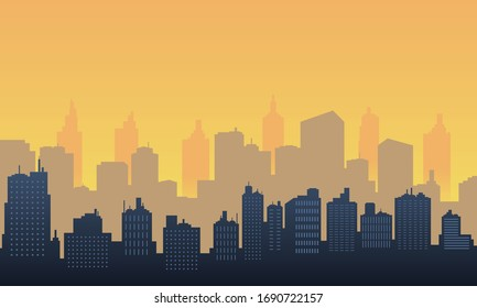 The city silhouette with beautiful morning view