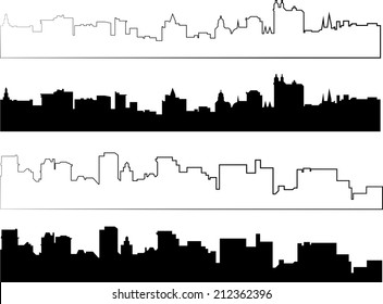 city silhouette in black and with interpretation part 4