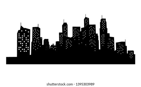City silhouette with black and white background